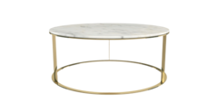 Coffee table huber white marble gold