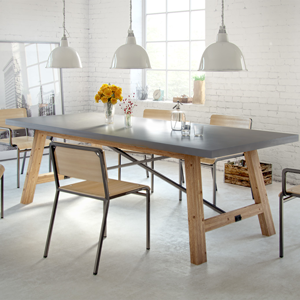Industrial dining room with dover dining table