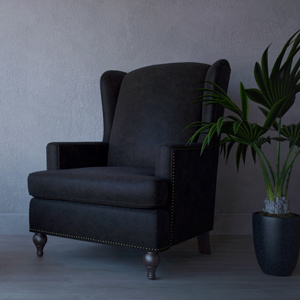 Charles leather armchair black
